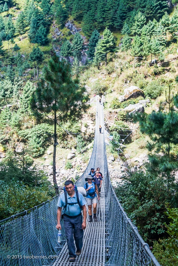 Crossing the Dudh Kosi