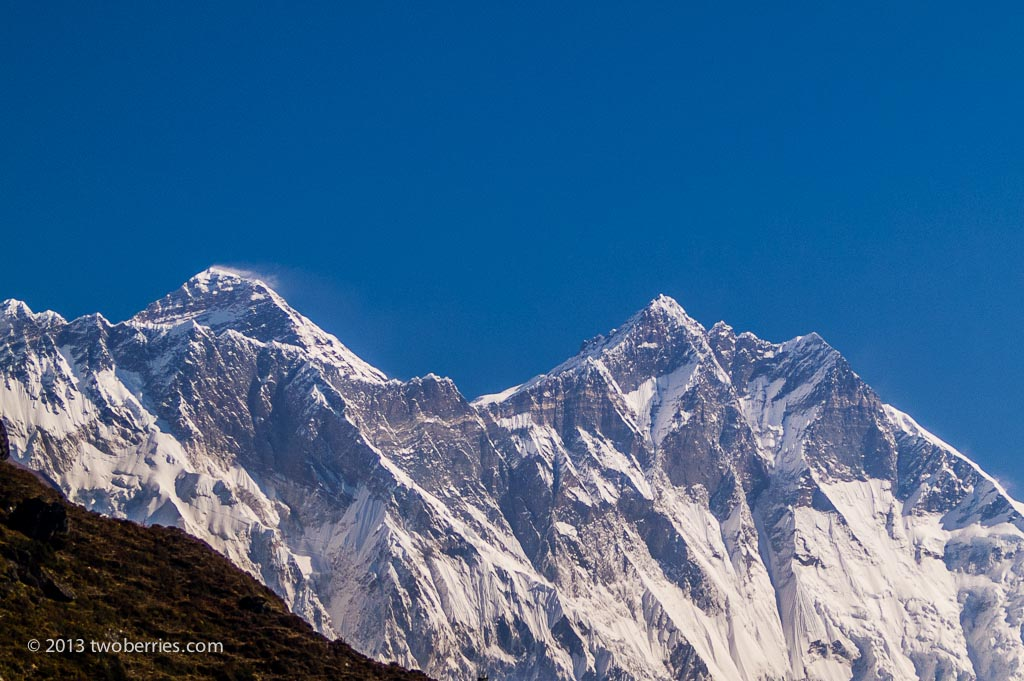 Everest and Lhotse from Namche Bazaar