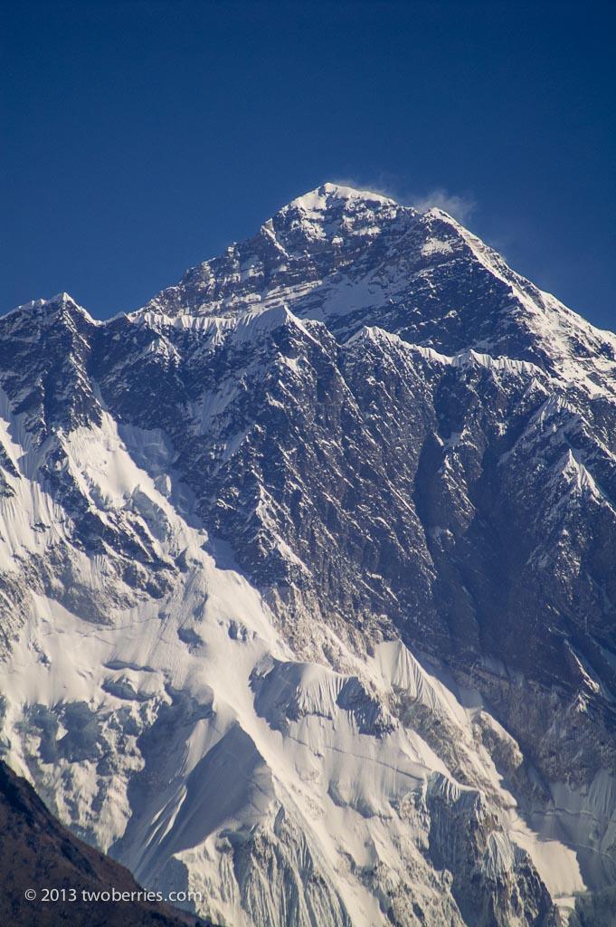 Telephoto shot of Everest from Namche Bazaar