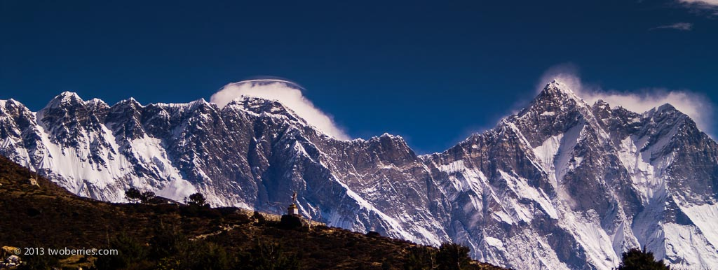 Nuptse - Lhotse ridge with a lenticular cloud over the summit of Everest