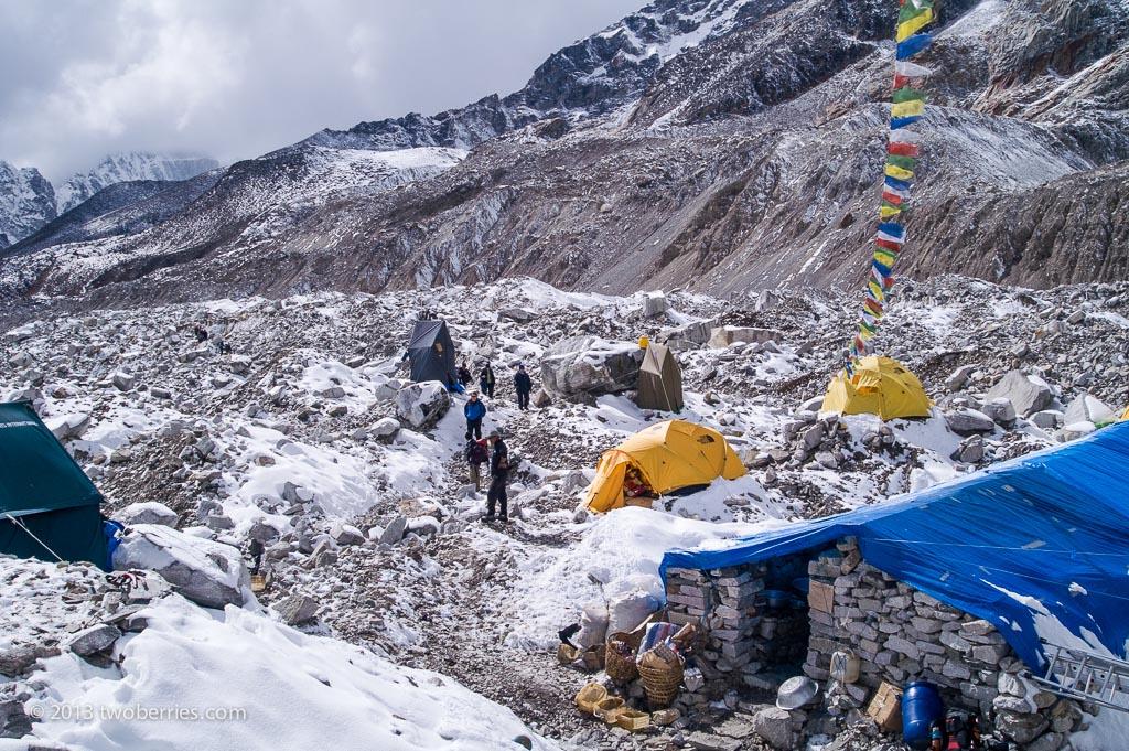 Trekkers making their way through Everest Base Camp