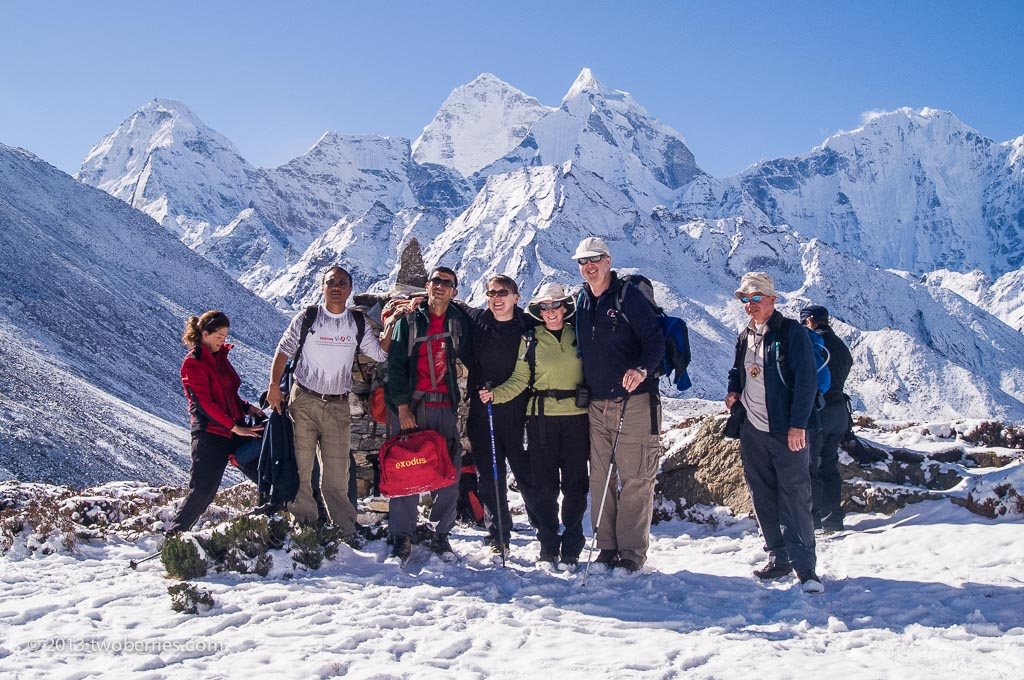 Trekking group on the descent from Pheriche