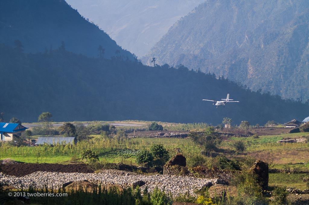 Flight landing at Lukla