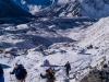 Climbing the moraine alonside the Khumbu Glacier