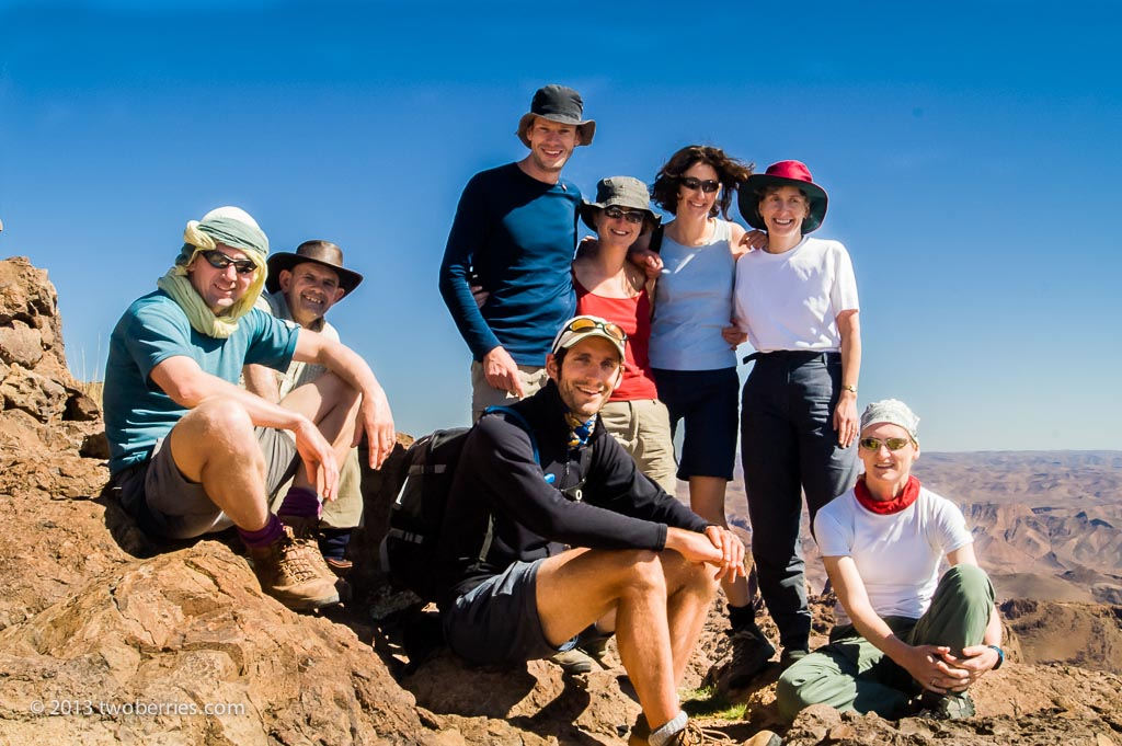 The trekking group on the summit of Jebel Aklim (2597 metres)