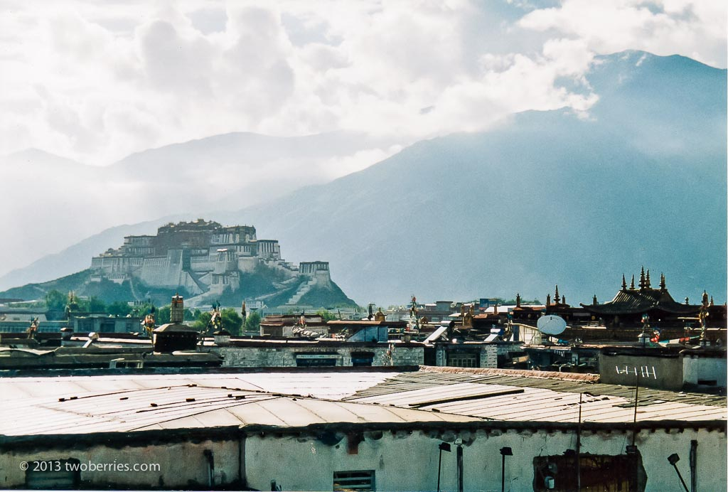 Potala Palace from across the rooftops of Lhasa