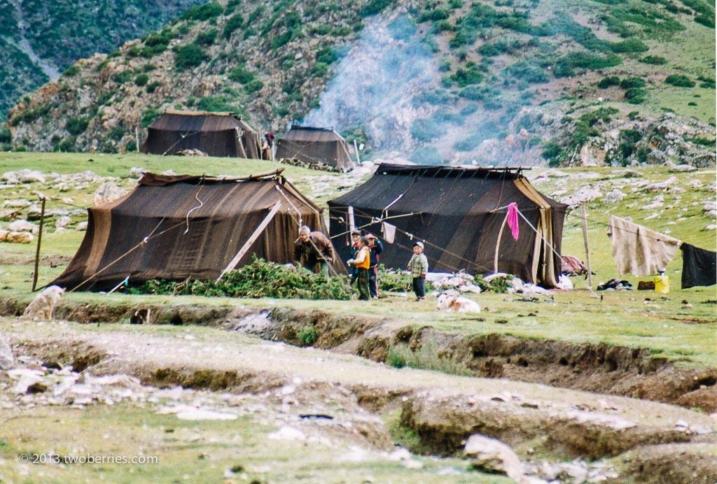 Tibetan Nomad camp on the Lachen La