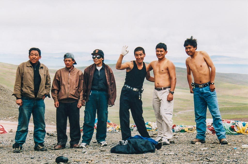 Our guides and camp crew strip off on the top of the Lachen La (5132 metres)