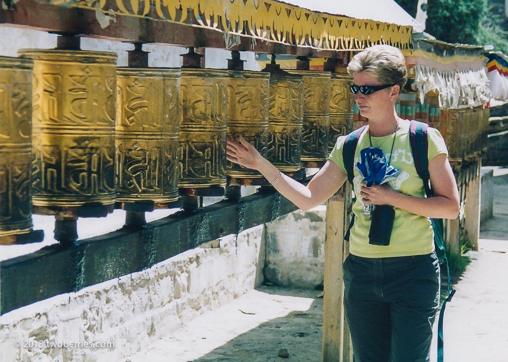 Prayer wheels, Zhashenlunbu Monastery, Shigatse