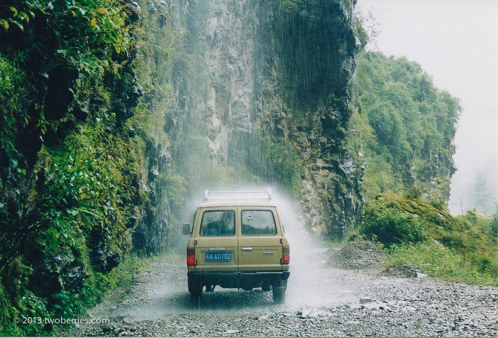 A waterfall makes a convenient car wash
