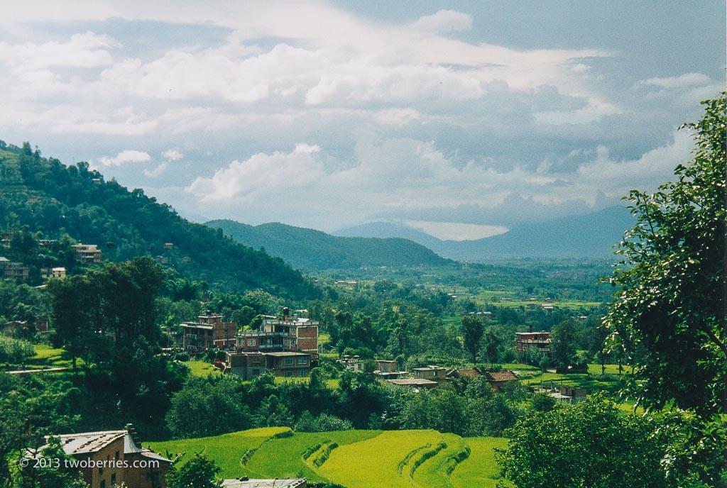 Rice paddy, descending into the Kathmandu valley